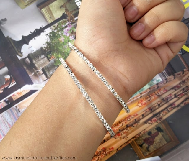 Rhodium Plated High Quality Bangles with Rhinestones
