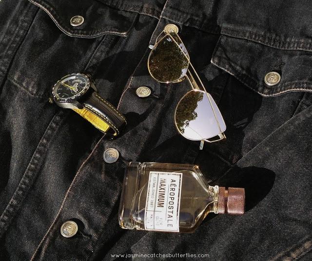 Tag Heuer Watch, Black Denim Jacket, Zaful Metal Bar Golden Frame Pilot Sunglasses, Aeropostle Maximum Perfume