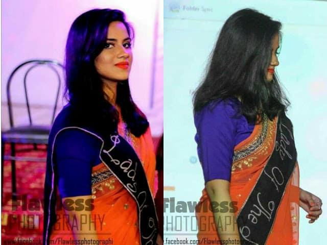 Orange Sari and Orange Lipstick