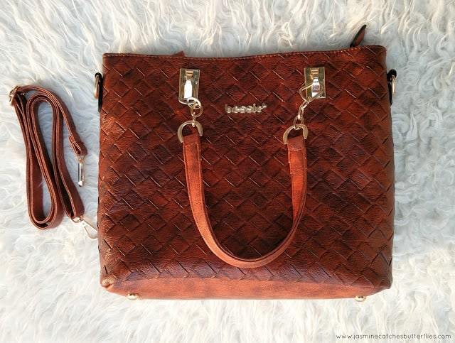 Rose Gal Brown PU Leather Weave Tote Bag