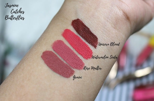 Swatches of Jeffree Star Velour Liquid Lipsticks: Gemini, Rose Matter, Watermelon Soda, And Unicorn Blood