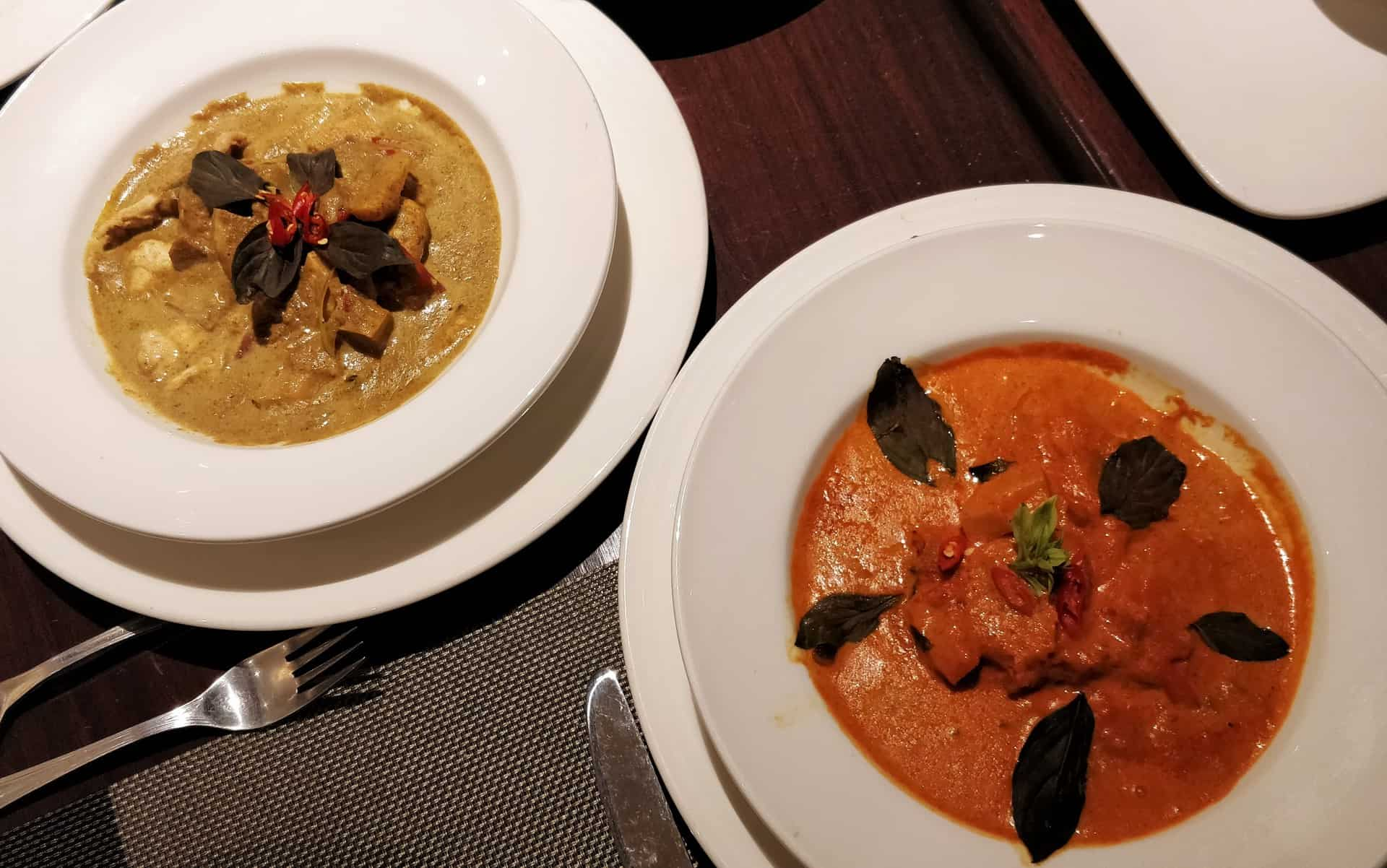 Red Thai Curry and Duck in Yellow Curry