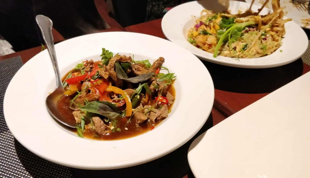 Stir Fried Beef with Chilies and Holy Basil and Pad Thai Goong Sod