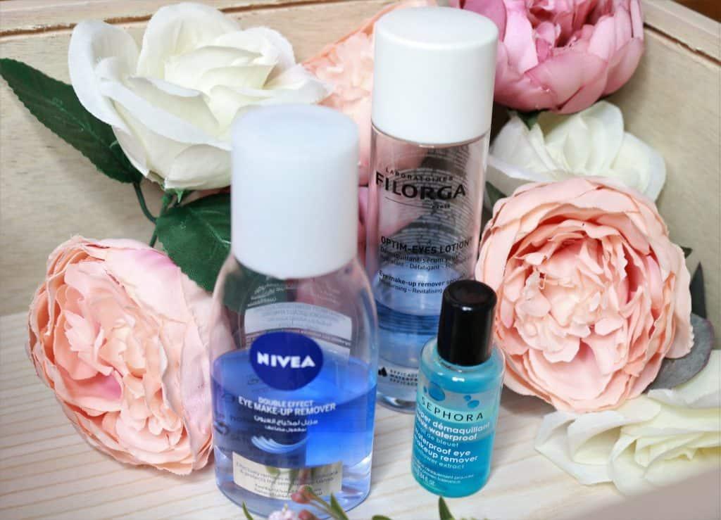 Nivea Double Effect, Filorga Optim Eyes Lotion and Sephora Waterproof Eye Makeup Removers